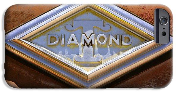 Rust iPhone Cases - Diamond T Truck Emblem iPhone Case by Mike McGlothlen