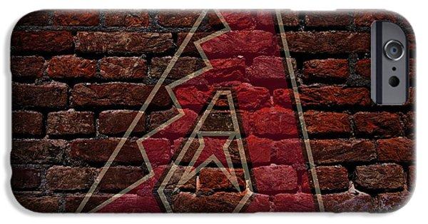 Shortstop iPhone Cases - Diamondbacks Baseball Graffiti on Brick  iPhone Case by Movie Poster Prints