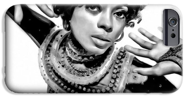 Gray Hair iPhone Cases - Diana Ross 2 iPhone Case by  Fli Art