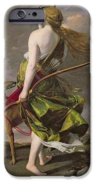 Greyhound Photographs iPhone Cases - Diana The Hunter, C.1624-25 Oil On Canvas iPhone Case by Orazio Gentileschi