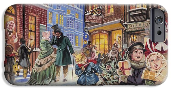 Celebration Paintings iPhone Cases - Dickensian Christmas Scene iPhone Case by Angus McBride