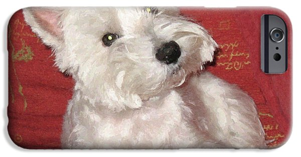 Westie Digital iPhone Cases - Did you just say walkies? iPhone Case by Charmaine Zoe