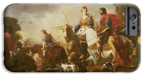 Epic iPhone Cases - Dido And Aeneas Hunting Oil On Canvas iPhone Case by Jan van Bike Miel
