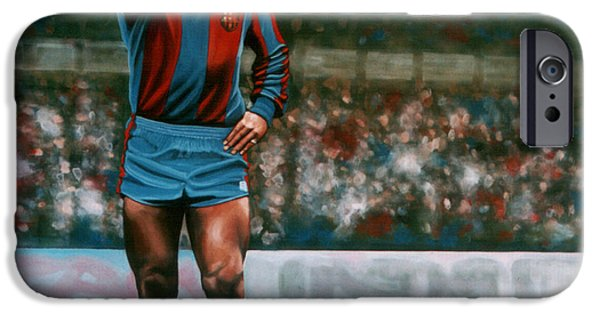Stadiums Paintings iPhone Cases - Diego Maradona iPhone Case by Paul  Meijering