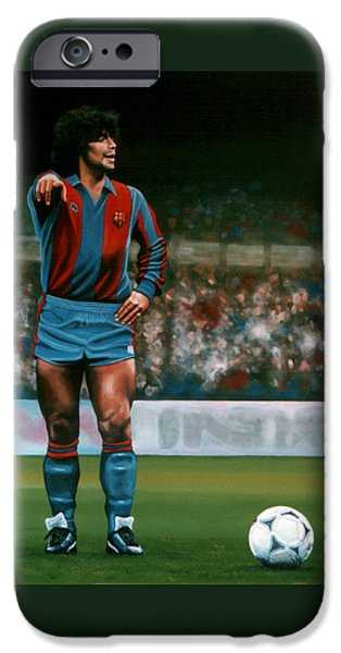 Football Paintings iPhone Cases - Diego Maradona iPhone Case by Paul Meijering