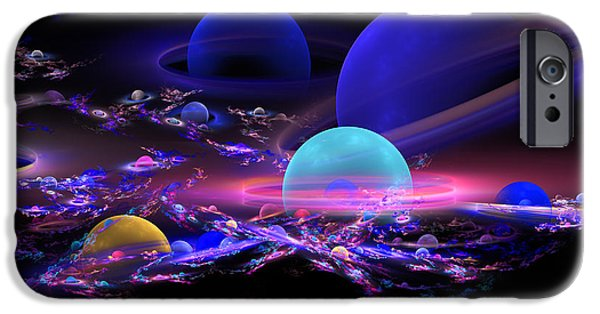 Abstractions iPhone Cases - Digital Abstract Fractal Art Planet Spheres iPhone Case by Keith Webber Jr