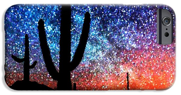 Abstract Digital iPhone Cases - Digital Art Abstract - Desert Cacti and the Starry Night Sky iPhone Case by Natalie Kinnear
