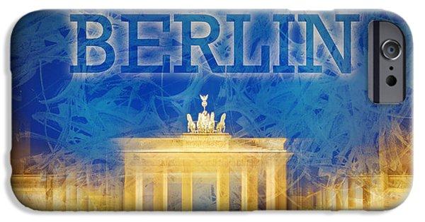 Abstract Sights Digital iPhone Cases - Digital-Art Brandenburg Gate II iPhone Case by Melanie Viola