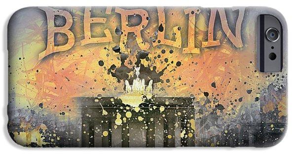 Modern Abstract Digital Art Digital Art Digital Art iPhone Cases - Digital-Art Brandenburg Gate I iPhone Case by Melanie Viola