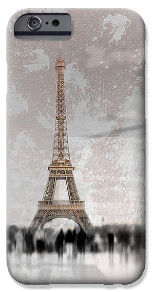 Abstract Sights Digital iPhone Cases - Digital-Art Eiffel Tower II iPhone Case by Melanie Viola