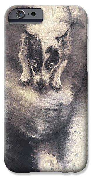 Disobedient iPhone Cases - Digital artwork of a mini fox terrier dog iPhone Case by Ryan Jorgensen