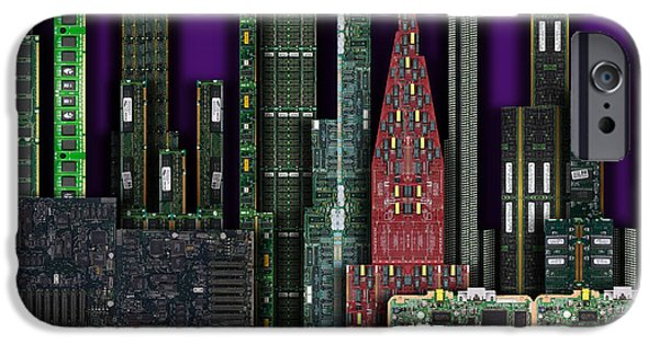 Circuit iPhone Cases - Digital Circuit Board Cityscape 4a - Purple iPhone Case by Luis Fournier