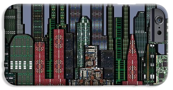 Circuit iPhone Cases - Digital Circuit Board Cityscape 5a - Wide iPhone Case by Luis Fournier
