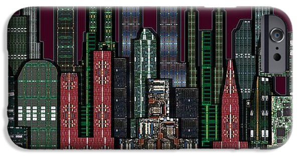 Circuit iPhone Cases - Digital Circuit Board Cityscape 5b - Wine Sky iPhone Case by Luis Fournier