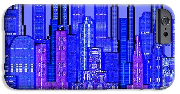 Circuit iPhone Cases - Digital Circuit Board Cityscape 5c - Blue Haze iPhone Case by Luis Fournier