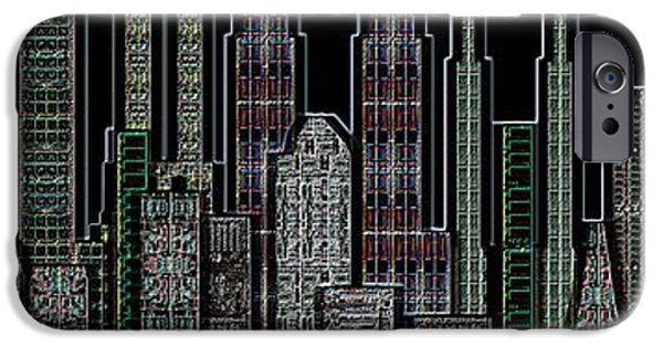 Circuit iPhone Cases - Digital Circuit Board Cityscape 5d - Blacktops iPhone Case by Luis Fournier