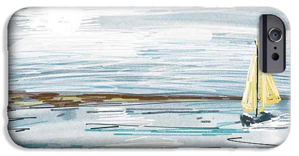 Ipad Art iPhone Cases - Digital seascape in blue iPhone Case by Lady I F Abbie Shores