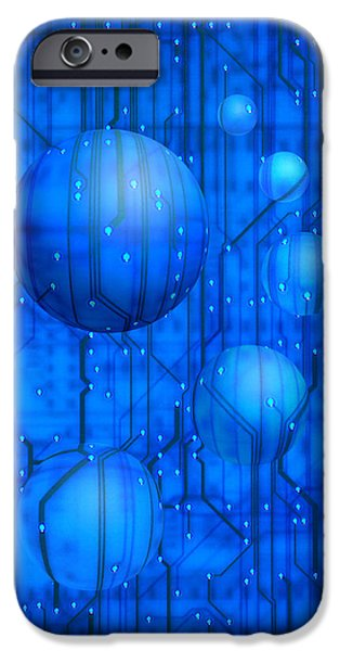Circuit iPhone Cases - Digital Worlds iPhone Case by Jerry McElroy