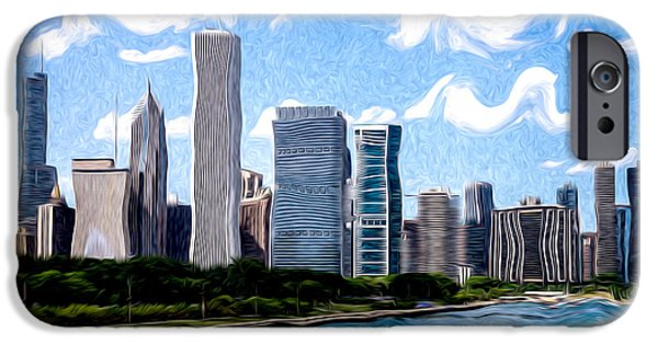 Chicago iPhone Cases - Digitial Painting of Downtown Chicago Skyline iPhone Case by Paul Velgos