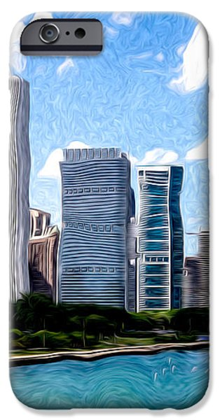 Digitial Painting of Downtown Chicago Skyline iPhone Case by Paul Velgos