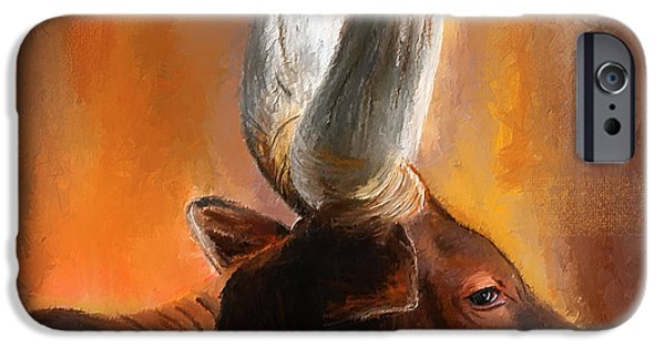 Texas Longhorn iPhone Cases - Dignified Pose- Texas Longhorn Paintings iPhone Case by Lourry Legarde
