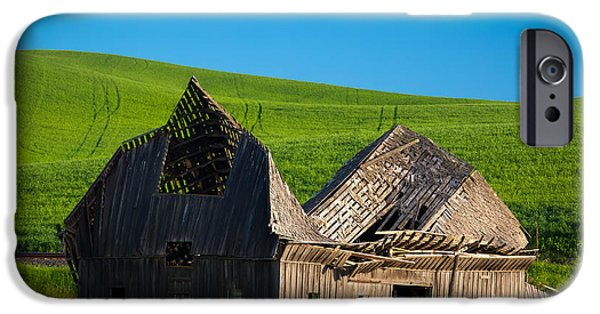 Ruins iPhone Cases - Dilapidated Barn iPhone Case by Inge Johnsson