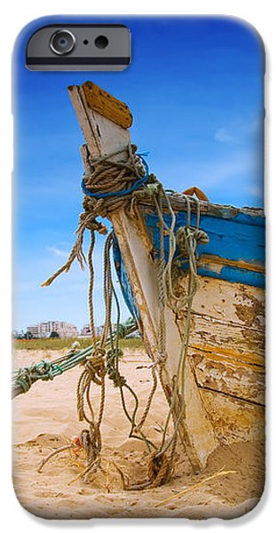 Dilapidated Boat at Ferragudo Beach Algarve Portugal iPhone Case by Amanda And Christopher Elwell