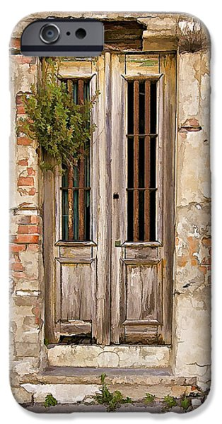 Abandonment iPhone Cases - Dilapidated Brown Wood Door of Portugal iPhone Case by David Letts