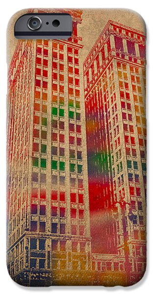 Buildings Mixed Media iPhone Cases - Dime Building Iconic Buildings of Detroit Watercolor on Worn Canvas Series Number 1 iPhone Case by Design Turnpike