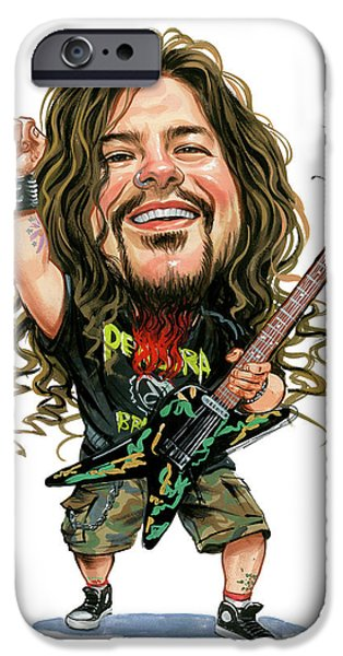 Celebrities Art iPhone Cases - Dimebag Darrell iPhone Case by Art