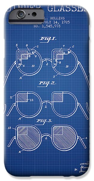 Sunglasses iPhone Cases - Dimmer Glasses Patent from 1925 - Blueprint iPhone Case by Aged Pixel