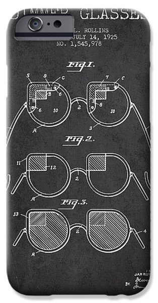 Sunglasses iPhone Cases - Dimmer Glasses Patent from 1925 - Dark iPhone Case by Aged Pixel