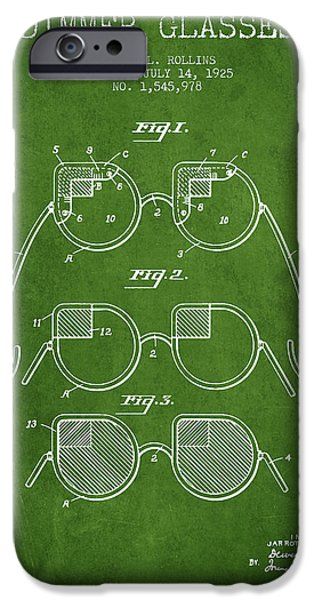 Sunglasses iPhone Cases - Dimmer Glasses Patent from 1925 - Green iPhone Case by Aged Pixel