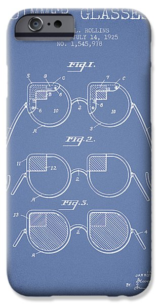 Sunglasses iPhone Cases - Dimmer Glasses Patent from 1925 - Light Blue iPhone Case by Aged Pixel
