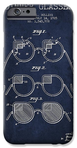 Sunglasses iPhone Cases - Dimmer Glasses Patent from 1925 - Navy Blue iPhone Case by Aged Pixel