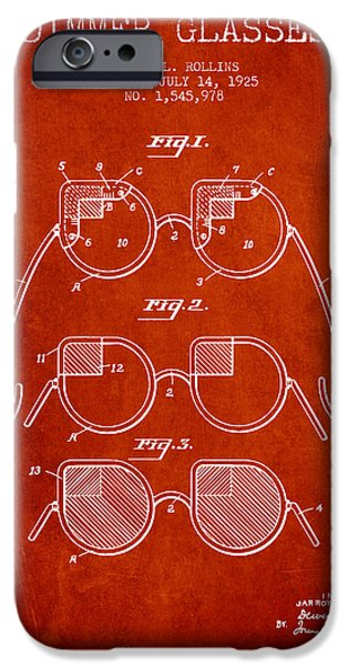 Sunglasses iPhone Cases - Dimmer Glasses Patent from 1925 - Red iPhone Case by Aged Pixel