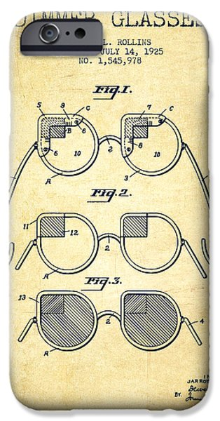 Sunglasses iPhone Cases - Dimmer Glasses Patent from 1925 - Vintage iPhone Case by Aged Pixel