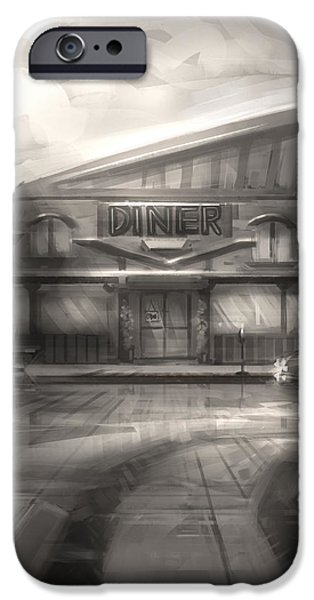 Concept Art iPhone Cases - Diner iPhone Case by Alex Ruiz