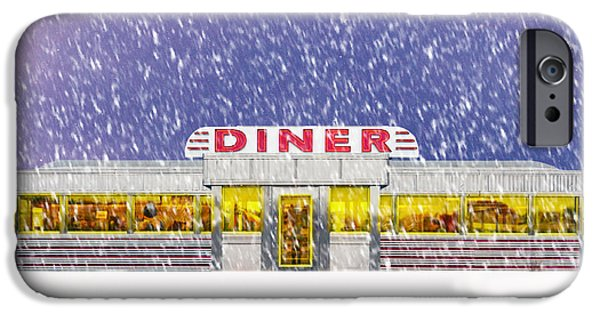 Winter Storm iPhone Cases - Diner in Snowstorm Square  iPhone Case by Edward Fielding