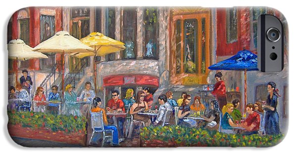 Boston Ma Paintings iPhone Cases - Dining Al Fresco iPhone Case by Claire Norris