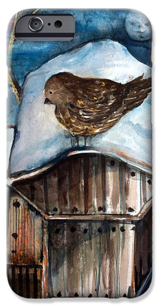 Baby Bird Mixed Media iPhone Cases - Dining by Moonlight iPhone Case by Mindy Newman