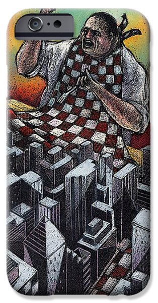 City Scape Drawings iPhone Cases - Dinner iPhone Case by Chris Van Es