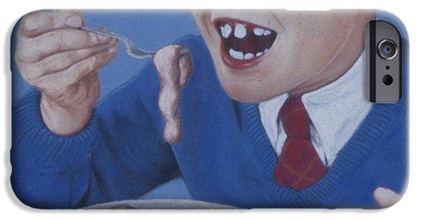 Creepy Pastels iPhone Cases - Dinner iPhone Case by Paulie Polka