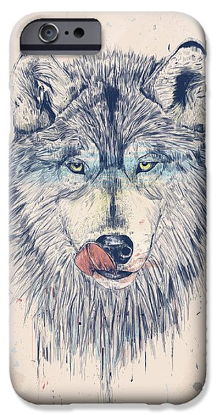Animal Drawings iPhone Cases - Dinner time iPhone Case by Balazs Solti