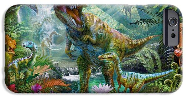 T Rex iPhone Cases - Dino Jungle Scene iPhone Case by Jan Patrik Krasny