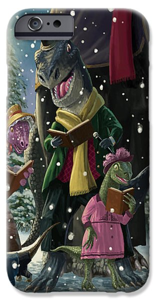 Dinosaur Carol Singers iPhone Case by Martin Davey