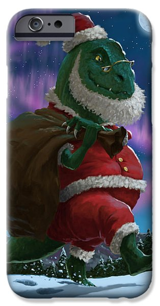 Santa Digital iPhone Cases - Dinosaur Christmas Santa out in the snow iPhone Case by Martin Davey