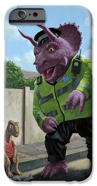 Police iPhone Cases - Dinosaur Community Policeman helping youngster iPhone Case by Martin Davey