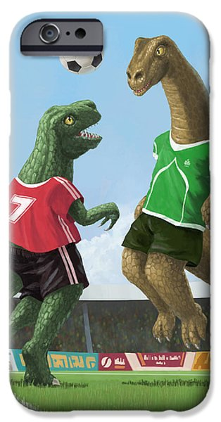 Kids Sports Art iPhone Cases - Dinosaur Football Sport Game iPhone Case by Martin Davey