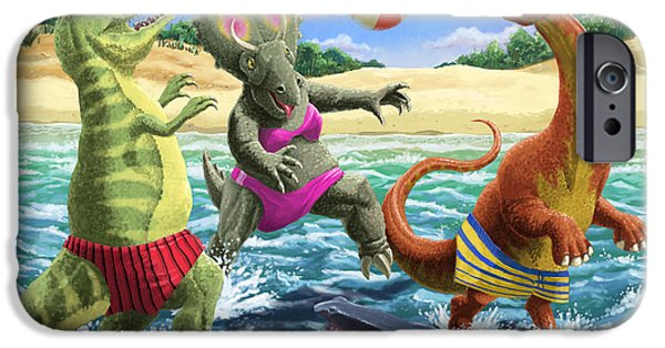 Young Digital iPhone Cases - dinosaur fun playing Volleyball on a beach vacation iPhone Case by Martin Davey